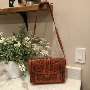 Handbags - Authentic Vintage Mexican Tooled Leather purse